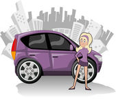 Woman with purple compact car — Stock Vector