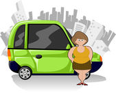 Chubby cartoon woman with green compact car — Stock Vector