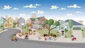 Enfants qui jouent dans le quartier de la banlieue — Vecteur