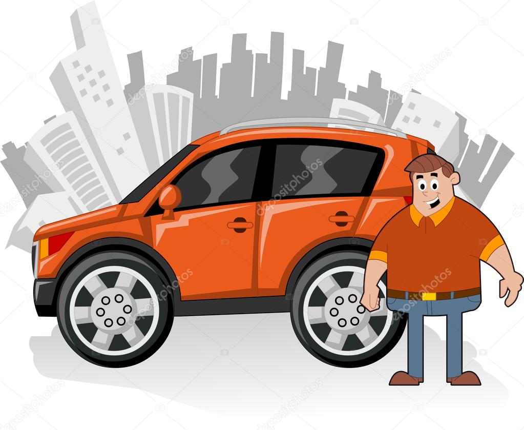 Man and orange utility vehicle with city on background  Stock Vector #13792513