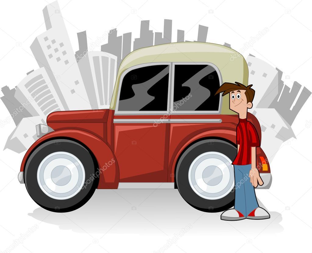 Hombre de dibujos animados con auto roja — vector stock