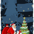 Santa Claus and christmas tree — Stockvectorbeeld