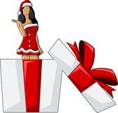 サンタ クロースのような服を着て女の子 — ストックベクタ
