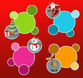 Santa Claus, reindeer, snowman, and christmas tree — Vector de stock