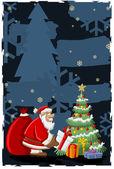 Jultomten och julgran — Stockvektor