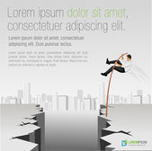 Business men jumping over abyss — Stockvector