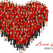 Wearing red clothes forming a big heart — Stock Vector #13829619