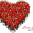 Wearing red clothes forming a big heart — Stock Vector