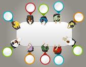 Mesa de oficina con punteros coloridos. etiqueta de vector. — Vector de stock