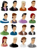 Business young faces icons — Stock Vector