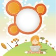 Cute cartoon girl with laptop - Stock Vector