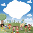 Cartoon kids playing in green park on the city — Stock Vector