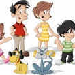 Vecteur: Cute happy cartoon family
