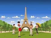 Cartoon family in Paris — Stock Vector