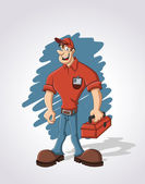 Cartoon worker with red tool box — Stock Vector