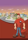 Pracovník s červeným tool box před předměstí okolí — Stock vektor