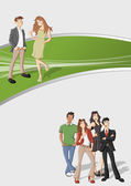 šablona pro reklamní brožura s karikatura — Stock vektor
