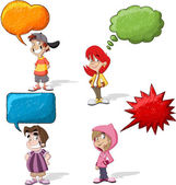 Cartoon children talking with speech balloon — Stock Vector