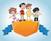 Roztomilý kreslený šťastná rodina — Stock vektor