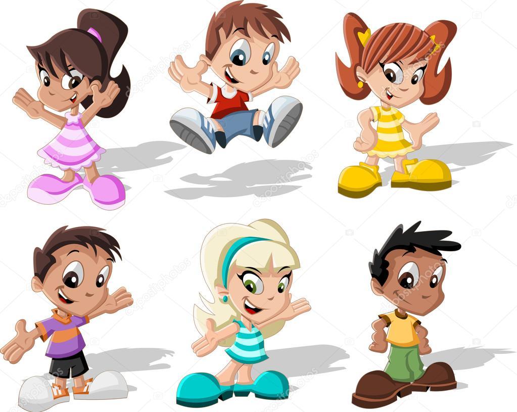 Group Of 6 Cartoon Characters : Group of six cartoon children — stock vector deniscristo