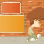 Sad boy kicking a can — Stock Vector #22520099