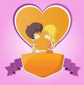 Par de niños lindos de la historieta en el amor — Vector de stock