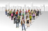 Grote groep op de stad — Stockvector