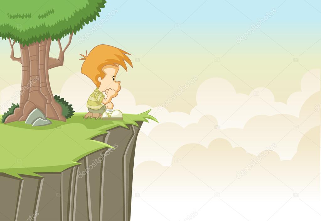 Sad cute cartoon boy — Stock Vector © deniscristo #22520269