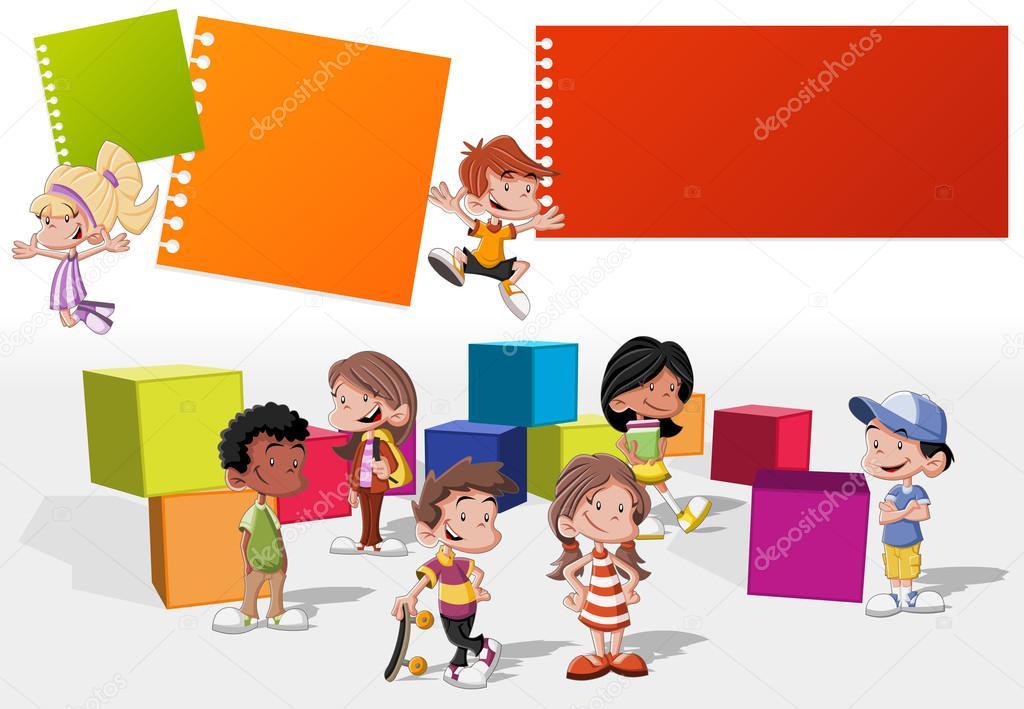 niños de dibujos animados lindo feliz jugando — Vector stock ...