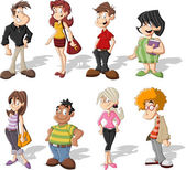 Group of cute happy cartoon — Stockvector