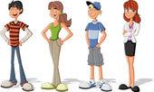 Güzel çizgi film çocuk grup. gençler. — Stok Vektör