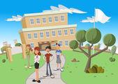 Teenager students in front of school. — Stock Vector