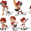 Stock Vector: Children wearing baseball uniform