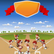 Team of cartoon children playing baseball — Stock Vector