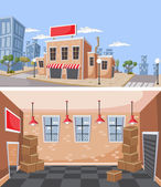 Factory warehouse in the city. — Stock Vector