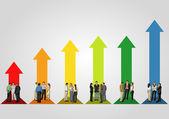 Business over arrow bar chart — Stock vektor