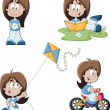 Stock Vector: Cute playful cartoon girl