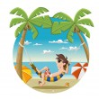 Cartoon man on beautiful tropical beach — Stock Vector