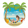 Cartoon man on beautiful tropical beach — Imagen vectorial