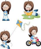 Cute playful cartoon girl — Stock Vector
