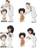 Cartoon doctors checking boys — Stock Vector