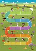 Board game with happy cartoon children — Stock Vector