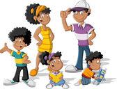 Black family — Stock Vector