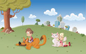 Boy and girl with dog and cat on city park — Stockvector