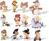 Kreslené děti hrají — Stock vektor