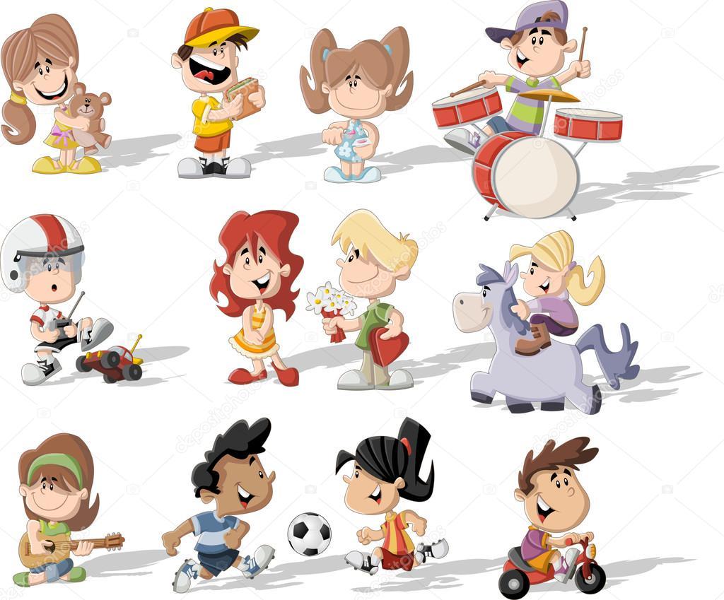Criancas Desenhos Animados Brincando Vetor De Stock