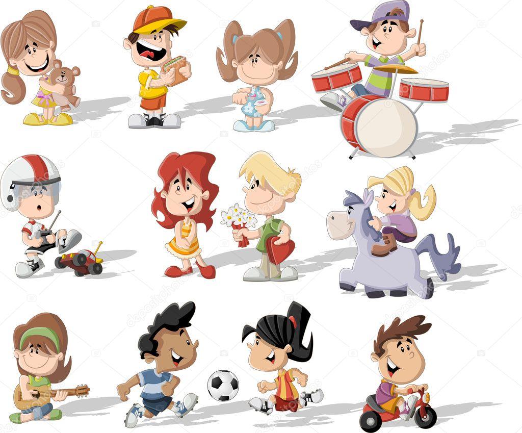 Kreslene Deti Hraji Stock Vektor C Deniscristo 33527429