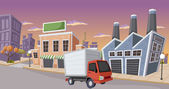 Factory in the city with small truck parked — Stock Vector