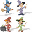Wizard boys and witch girls — Stock Vector