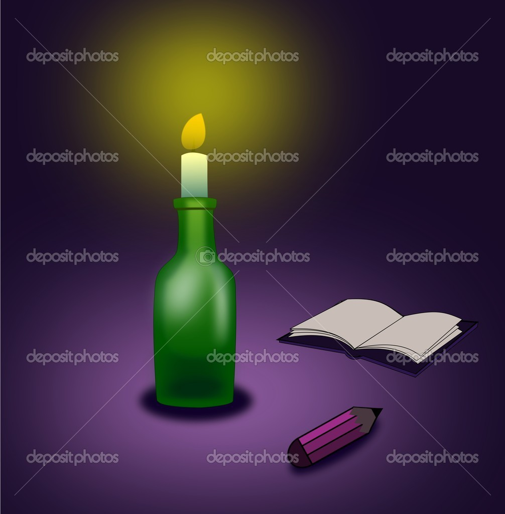 A pencil and an open book lying in the candlelight.  Stok fotoraf #15677507